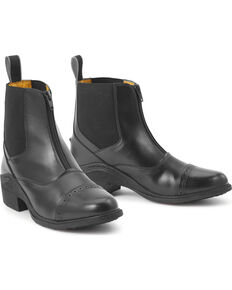 Ovation Synergy Zip Front Women's Black Paddock Boots, Black, hi-res