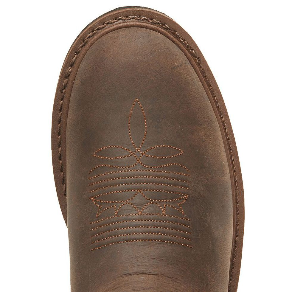 Tony Lama 3R Pull-On Work Boots - Round Toe, Brown, hi-res