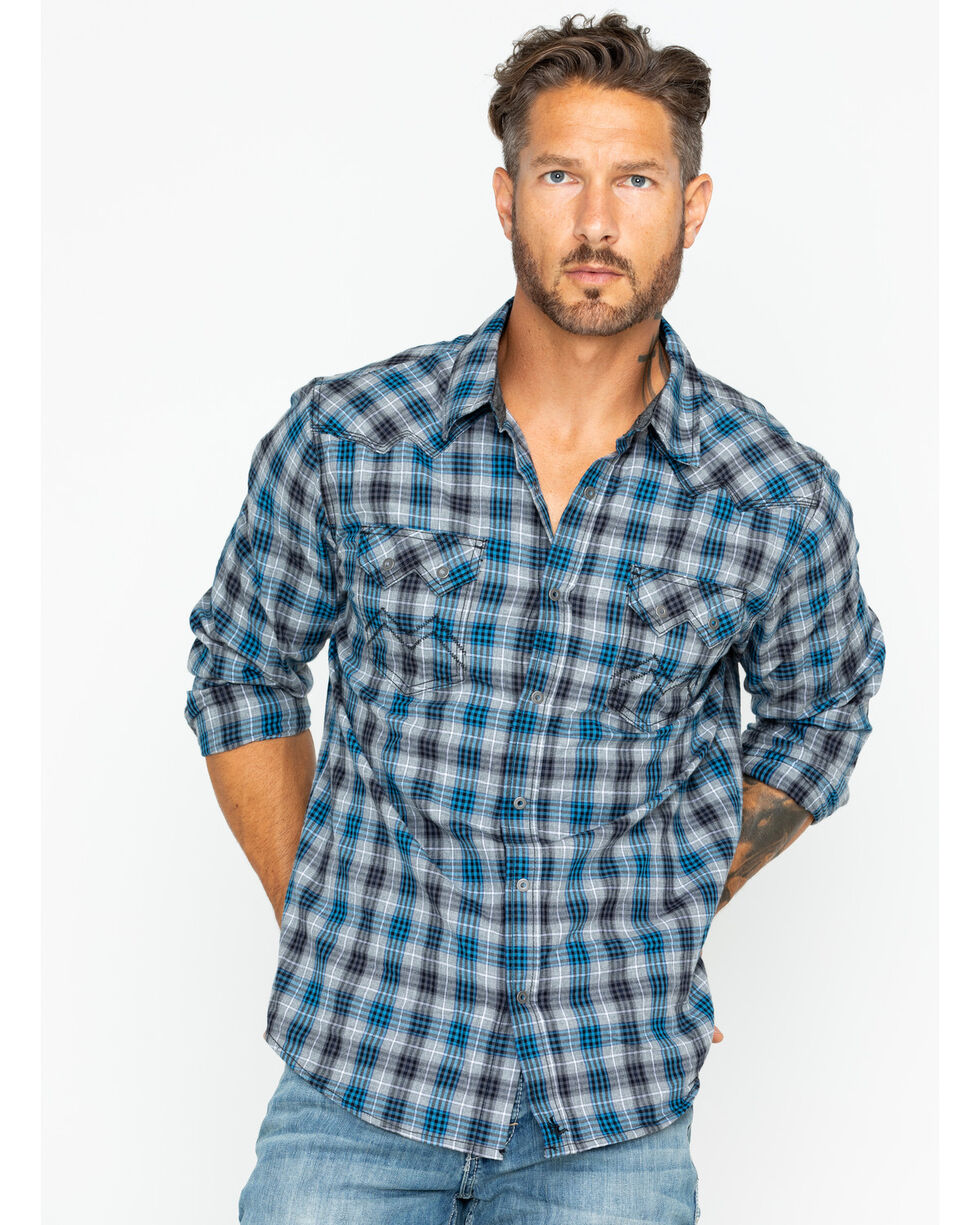 Cody James Men's Range Boss Grey Plaid Western Shirt, , hi-res