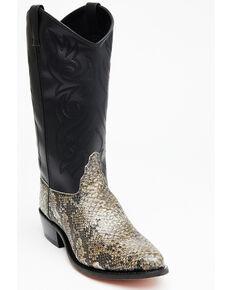 Old West Men's Snake Printed Western Boots - Round Toe, Natural, hi-res