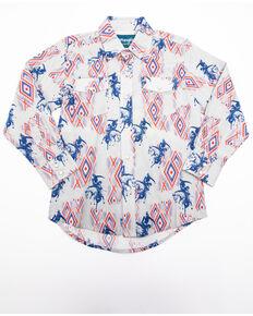 Wrangler Boys' Checotah Print Snap Woven Long Sleeve Western Shirt , Grey, hi-res