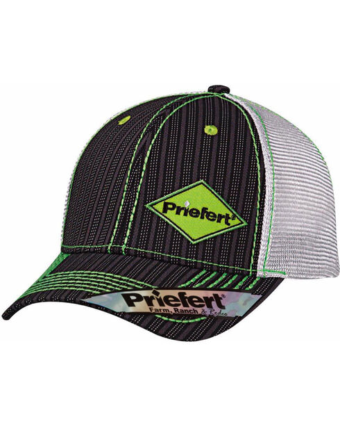 Priefert Men's Black with Lime Green Accents Baseball Cap, Black, hi-res