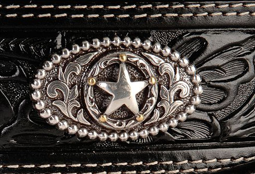 Justin Ranch Star Concho Belt, Black, hi-res