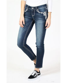 Grace in LA Women's Paisley Pocket Bootcut Jeans, Blue, hi-res