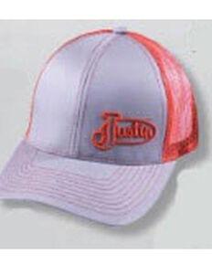 Justin Men's Orange & Grey Offset Embroidered Logo Mesh-Back Ball Cap , Orange, hi-res