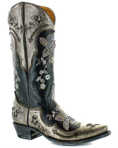 Old Gringo Women's Bonnie Pipin Crystal Western Boots - Snip Toe, Black, hi-res