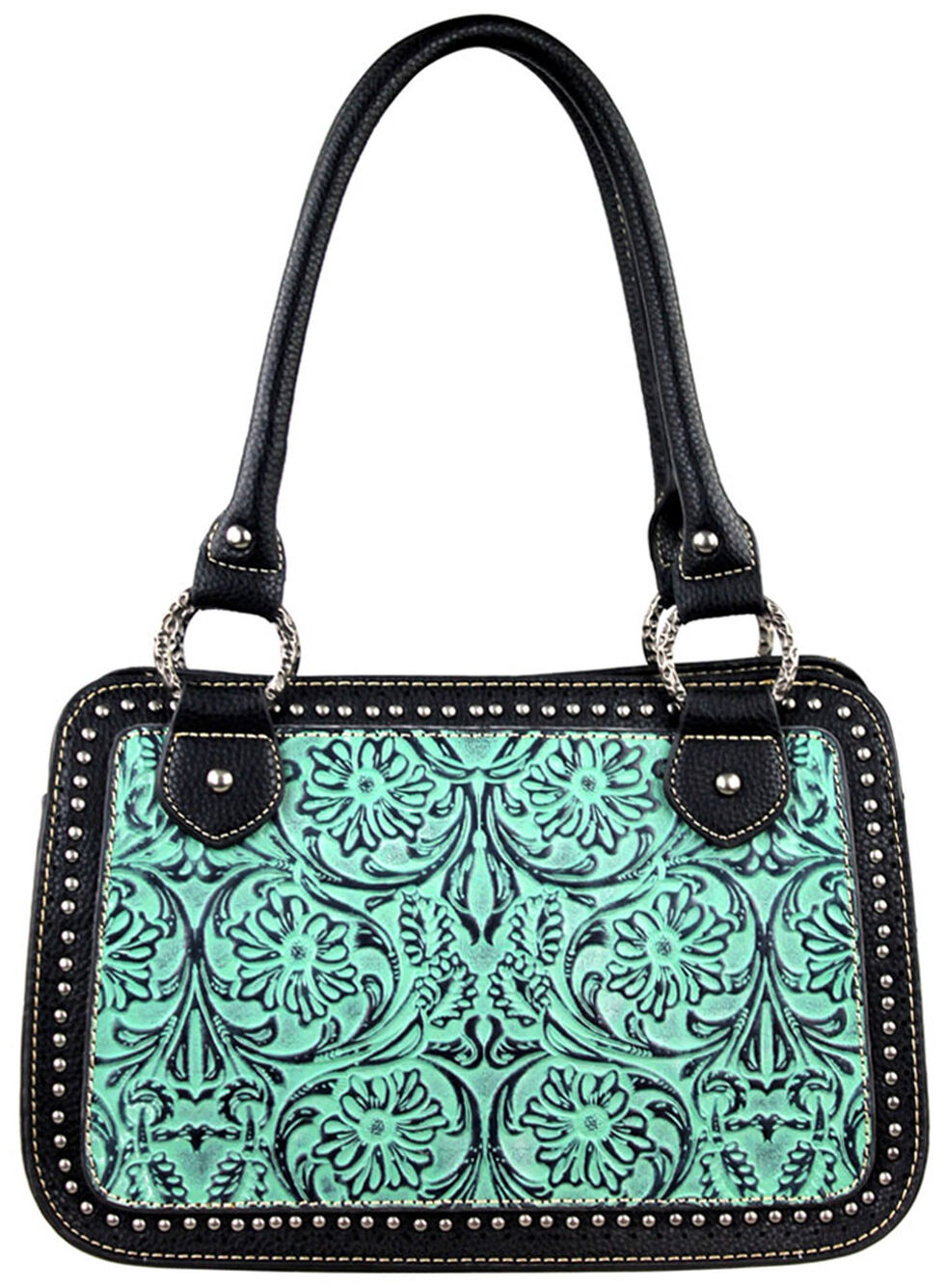 Montana West Trinity Ranch Tooled Handbag with Studs, , hi-res