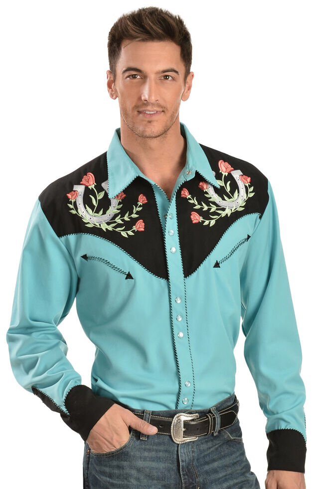 3cc4133750d64c Zoomed Image Scully Rose & Horseshoe Embroidered Retro Western Shirt - Big  & Tall, Turquoise, hi