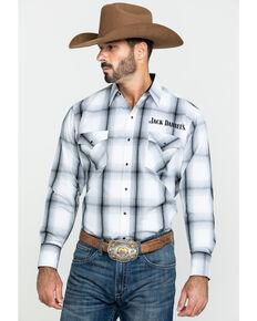 Jack Daniel's Men's Embroidered Large Plaid Long Sleeve Western Shirt , White, hi-res