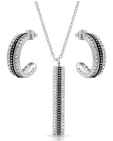Montana Silversmiths Women's Classic Haloed Beauty Jewelry Set, Silver, hi-res