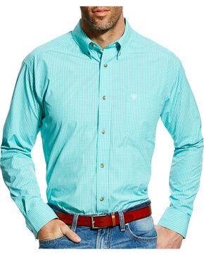Ariat Men's Pro Series Edinburg Checkered Plaid Long Sleeve Shirt, Green, hi-res