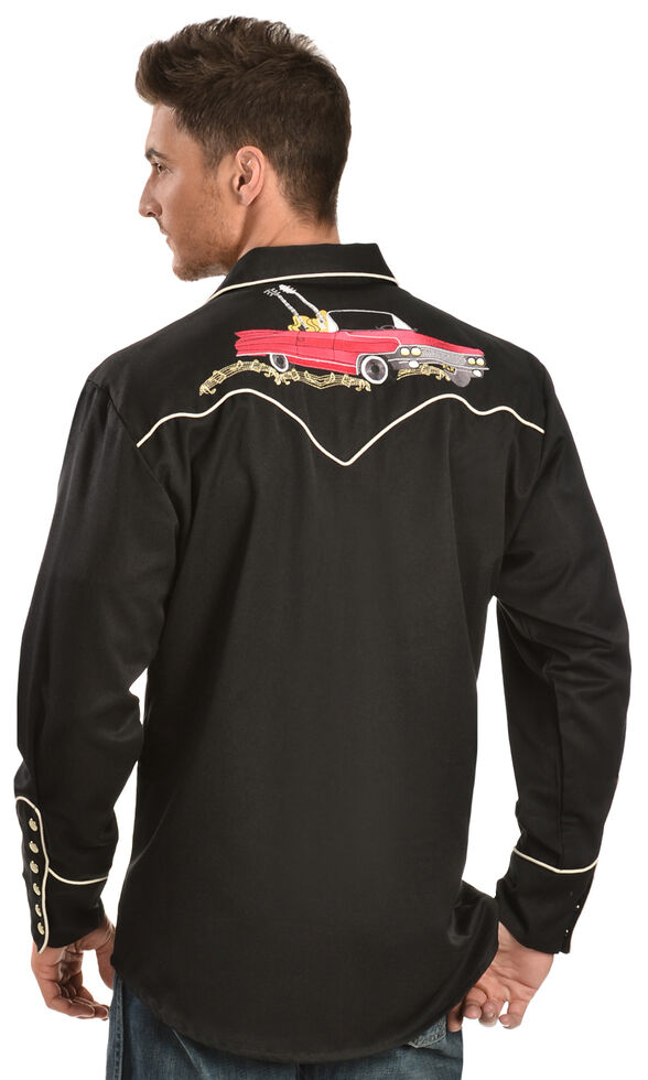 Scully Rock N Roll Guitar Embroidered Retro Western Shirt - Big & Tall, Black, hi-res