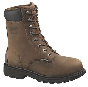 "Wolverine McKay 8"" Work Boots - Steel Toe, Brown, hi-res"