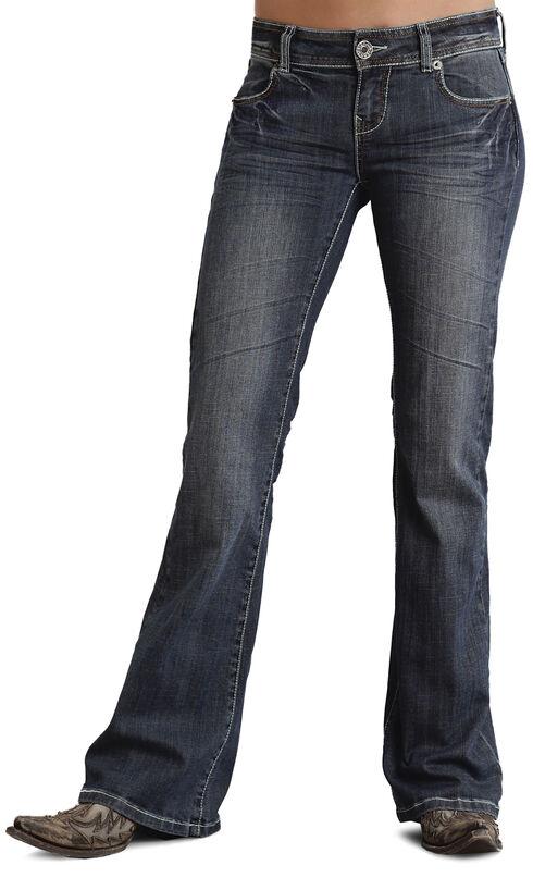 Stetson Women's 816 Classic Fit Thick Stitch Bootcut Jeans, Denim, hi-res
