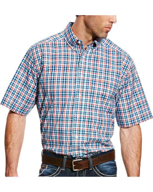 Ariat Men's Pro Series Fisher Plaid Short Sleeve Button Down Shirt, Blue, hi-res