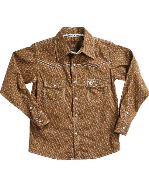 Cowboy Hardware Boys' Scroll Skull Long Sleeve Shirt, Brown, hi-res