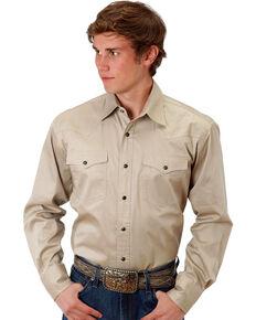 616dd6260032a2 Roper Mens Khaki Solid Poplin Long Sleeve Western Shirt, Khaki, hi-res
