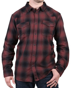 Cody James Men's Washed Out Maroon Plaid Flannel Shirt, Maroon, hi-res