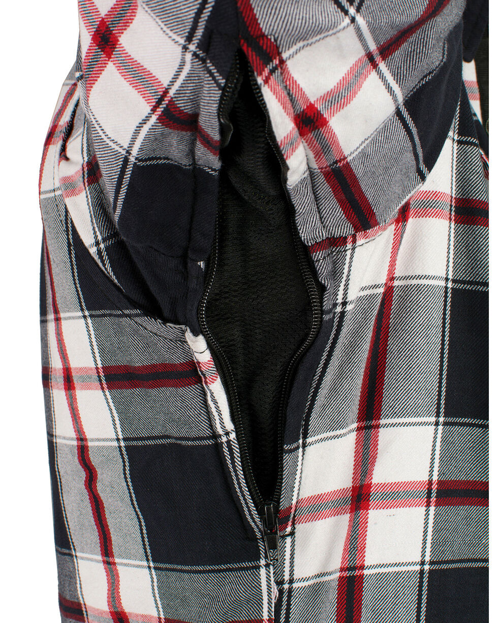 Milwaukee Performance Men's Aramid Reinforced Plaid Flannel Biker Shirt, Black/red, hi-res