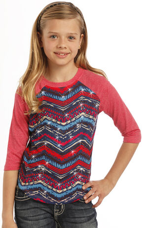 Rock & Roll Cowgirl Girls' Aztec Baseball Tee, Multi, hi-res