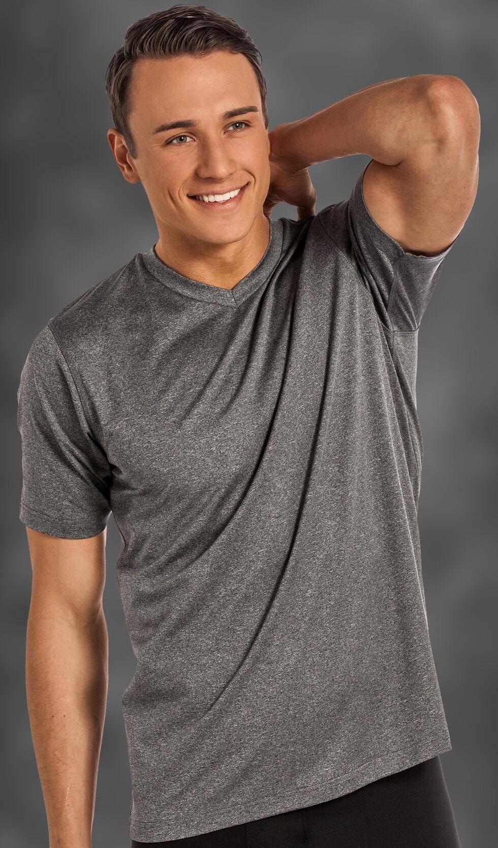 Rock and Roll Cowboy Men's Charcoal Grey V-Neck T-Shirt , Charcoal Grey, hi-res