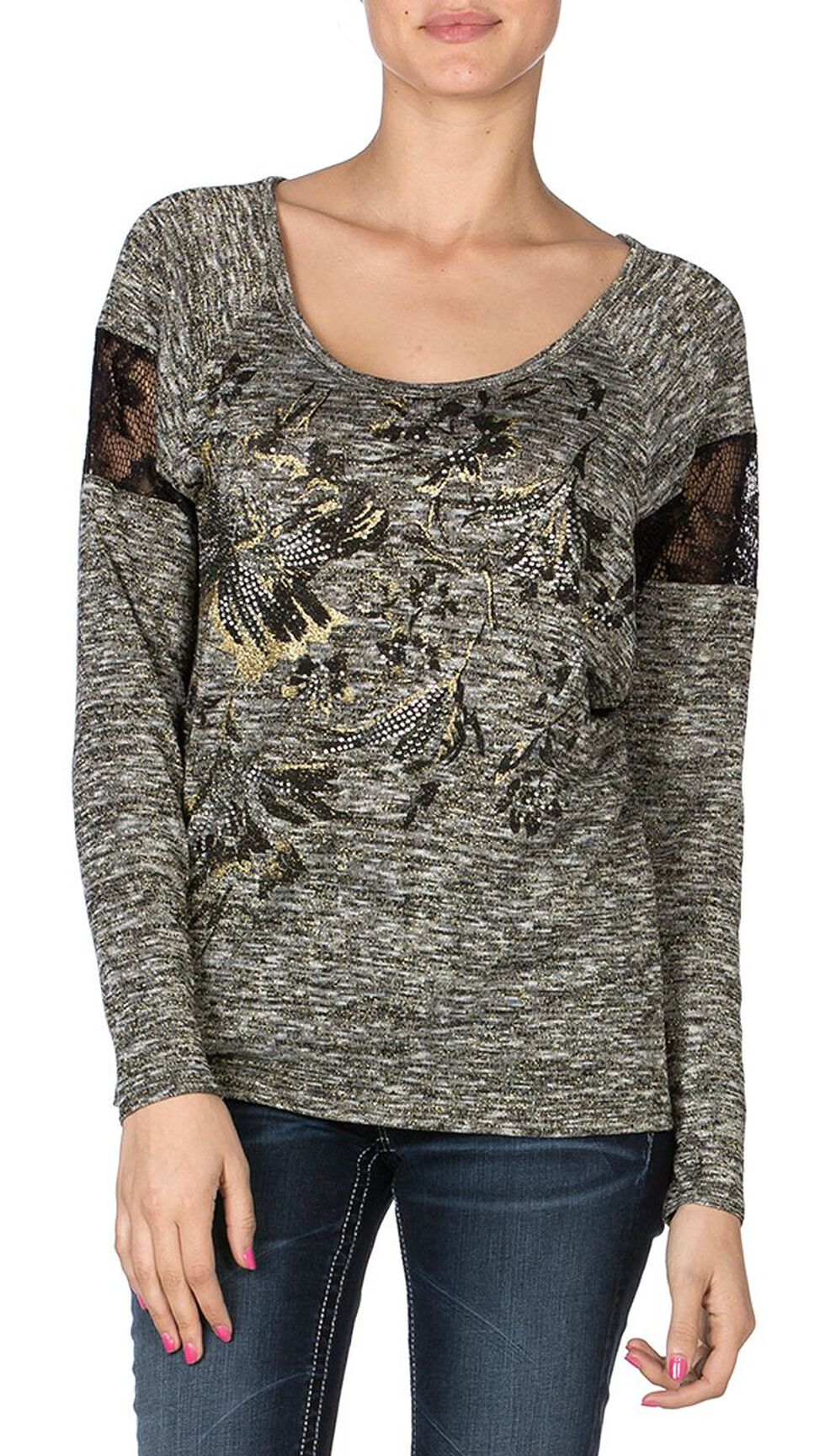 Miss Me Melange Lave Inlay Top, Charcoal Grey, hi-res
