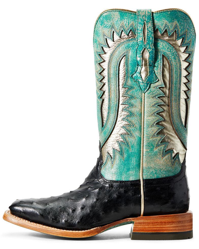 Ariat Women's Silverado Full-Quill Ostrich Western Boots - Wide Square Toe, Black, hi-res