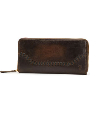 Frye Women's Melissa Whipstitch Zip Wallet , Slate, hi-res