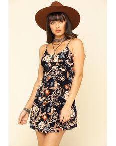 Shyanne Women's Black Floral Crochet Print Dress, Black, hi-res