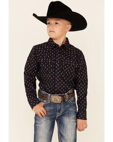 Cody James Boys' Tribal Geo Print Long Sleeve Snap Western Shirt , Navy, hi-res