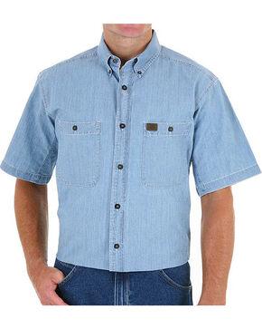 Wrangler Men's Blue Riggs Workwear Chambray Work Shirt - Tall , Blue, hi-res