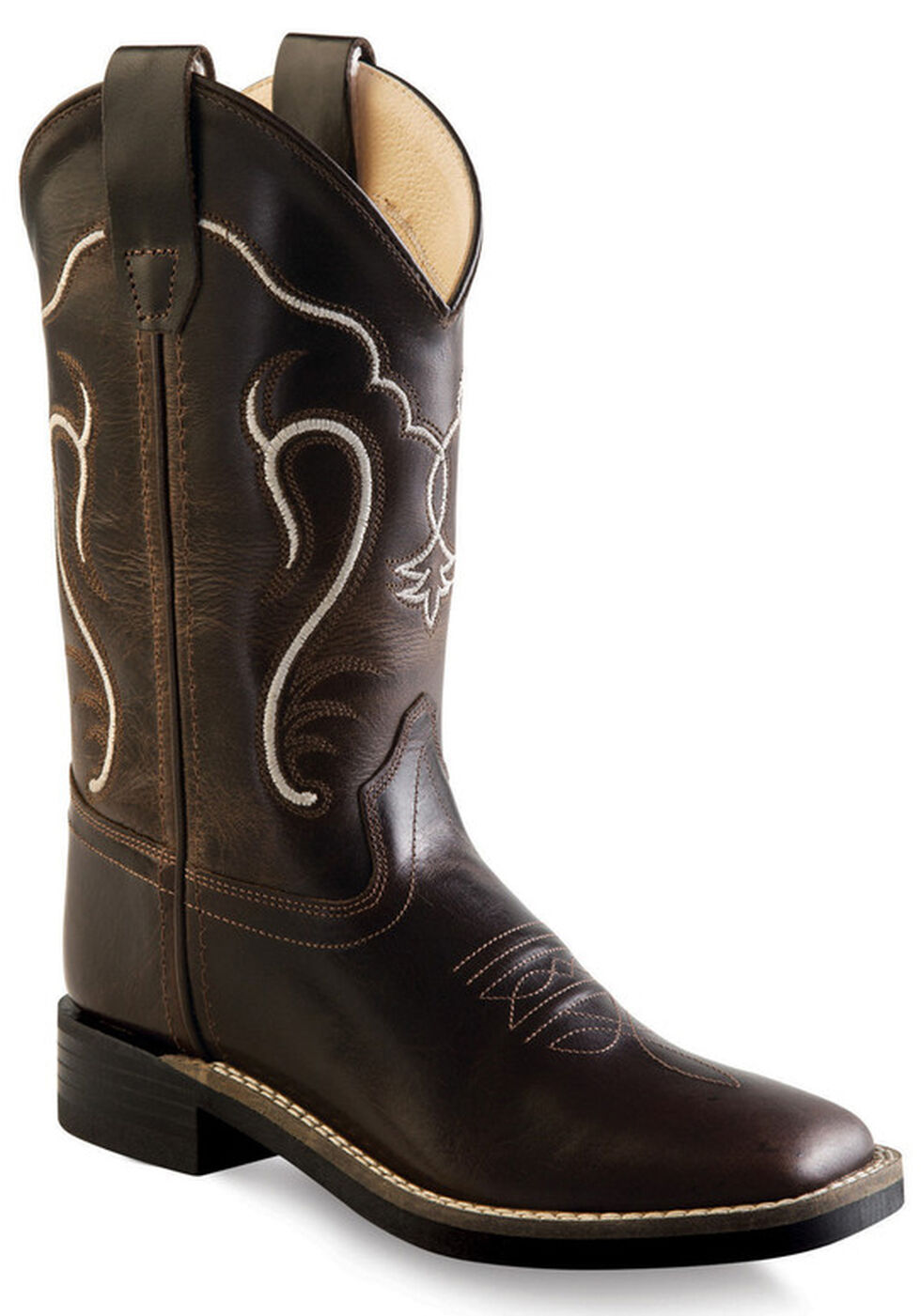 Old West Boys' Distressed Brown Cowboy Boots - Square Toe , Brown, hi-res