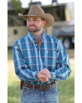 Cinch Men's Teal Plaid Long Sleeve Button-Down Shirt, Teal, hi-res