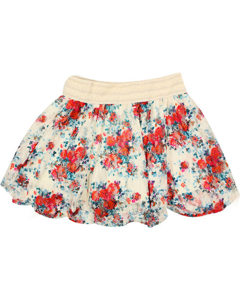 Shyanne Girl's Floral Lace Skirt , Multi, hi-res