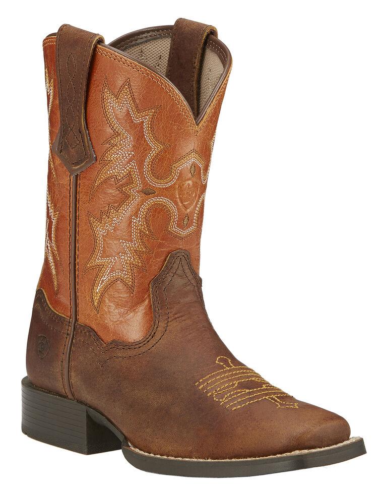 Ariat Boys' Tombstone Cowboy Boots - Square Toe, Brown, hi-res