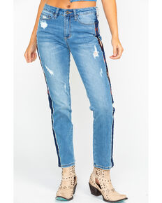 Grace In LA Women's Aztec Stripe Girlfriend Tapered Jeans , Indigo, hi-res