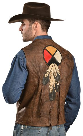 Kobler Circle of Life Leather Vest, Acorn, hi-res
