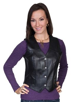 Scully Western Lamb Leather Vest, Black, hi-res