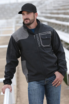 Cinch Men's Black and Grey Bonded Jacket , Black, hi-res