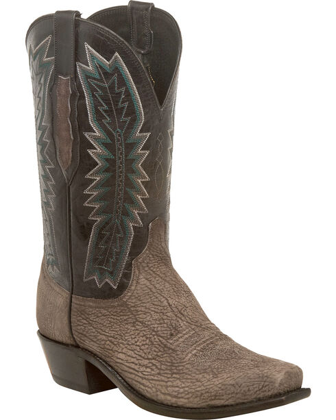 Lucchese Men's Handmade Harrison Charcoal/Black Sueded Sheep Western Boots - Square Toe, Grey, hi-res