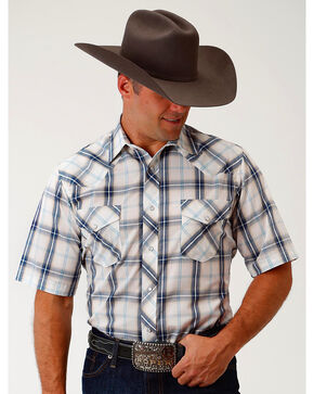 Roper Men's Navy & Cream Plaid Short Sleeve Western Snap Shirt, Navy, hi-res