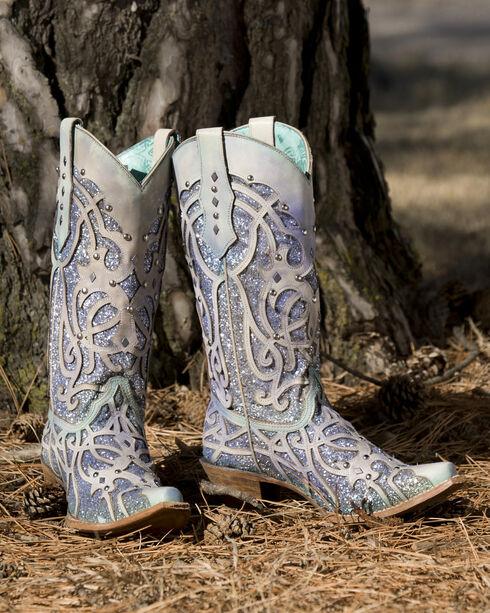 Corral Women's White Turquoise Glitter Chameleon Sun Boots - Snip Toe , White, hi-res