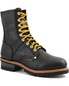 """Ad Tec Men's Black Logger 9"""" Work Boots - Soft Toe, Black, hi-res"""