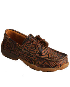 Twisted X Boys' Pattern Casual Driving Shoe - Moc Toe, Brown, hi-res