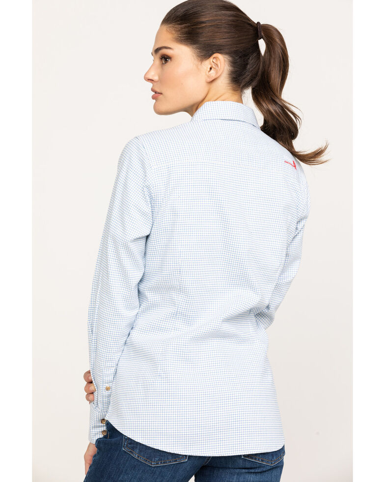 Ariat Women's FR White Hermosa Durastretch Work Shirt , White, hi-res