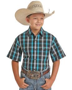 Panhandle Select Boys' Blue Yarn Dye Check Plaid Short Sleeve Western Shirt , Blue, hi-res