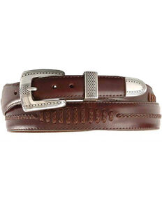 Brighton Onyx Tapered Leather Dress Belt, Brown, hi-res