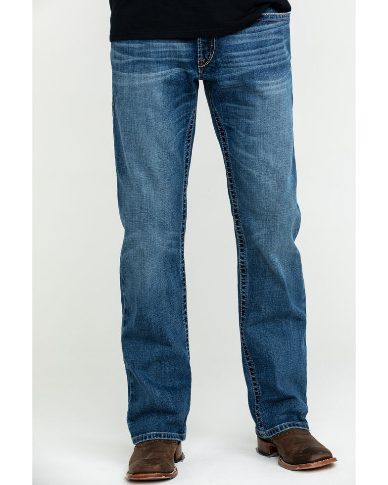 Ariat Men's M4 Ledge Low Relaxed Stretch Bootcut Jeans , Blue, hi-res