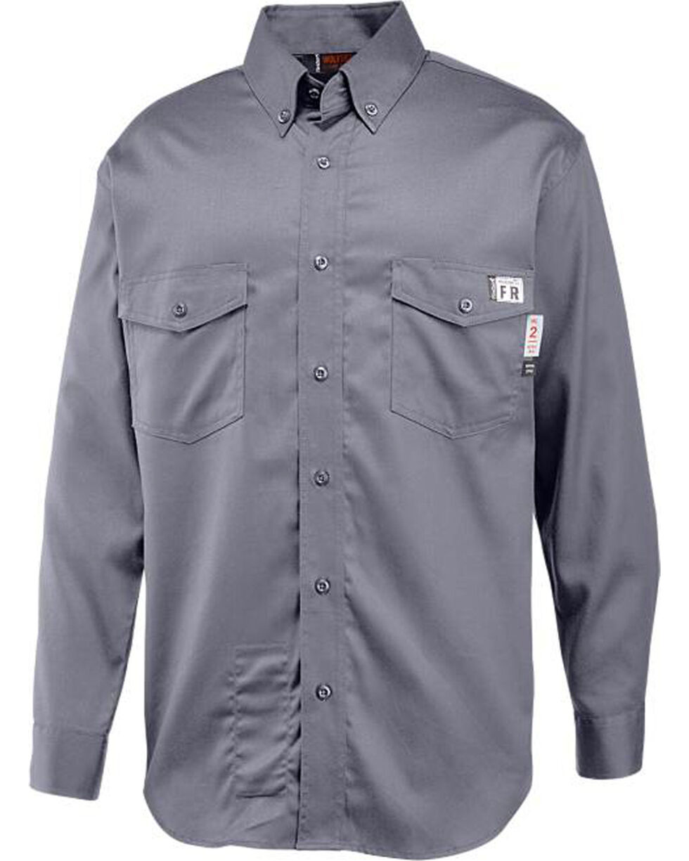 Wolverine Men's Grey Firezero FR Twill Long Sleeve Shirt, Grey, hi-res