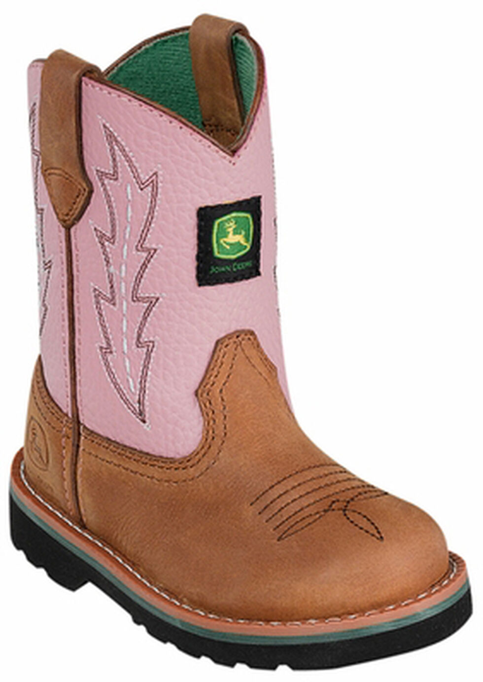 John Deere Youth Girls' Johnny Popper Pink Western Boots - Round Toe, Tan, hi-res